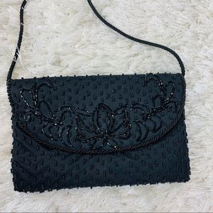 Black Beaded Evening Bag Cross Body Vintage